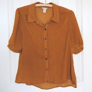 Forever 21 Orange Polka Dot Blouse size Medium